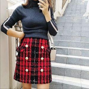 Tweed red pencil skirt